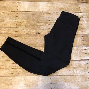 Lululemon Black Leggings with Velvet Detail Sz 6